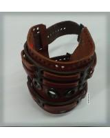 Браслет  коричневый кожаный на двух ремешках