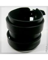 Браслет черный кожаный на двух ремешках