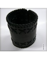 Браслет  черный кожаный на кнопках в четыре ряда