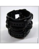 Браслет  в стиле стимпанк черный кожаный на двух ремешках